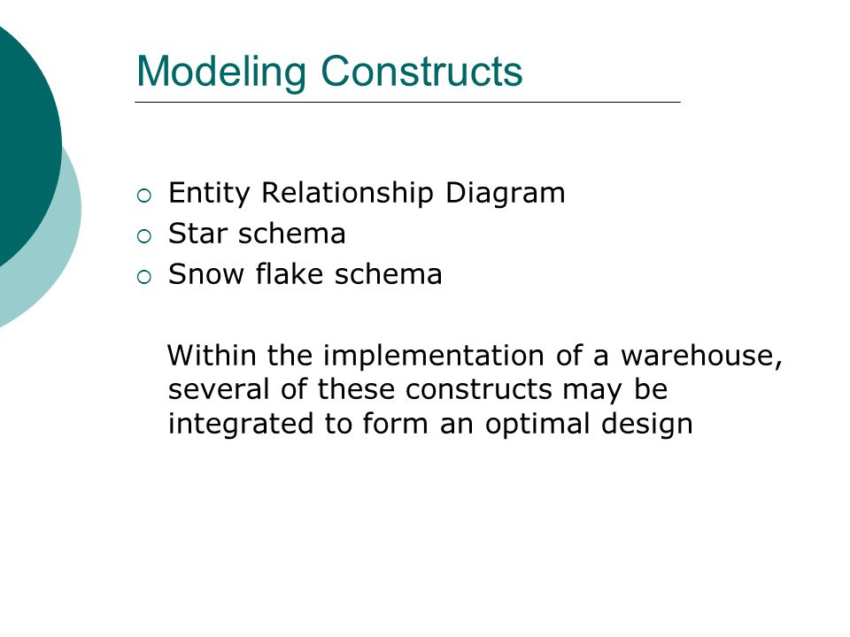Modeling Constructs Entity Relationship Diagram Star schema