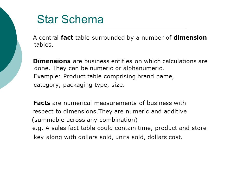 Star Schema Facts are numerical measurements of business with