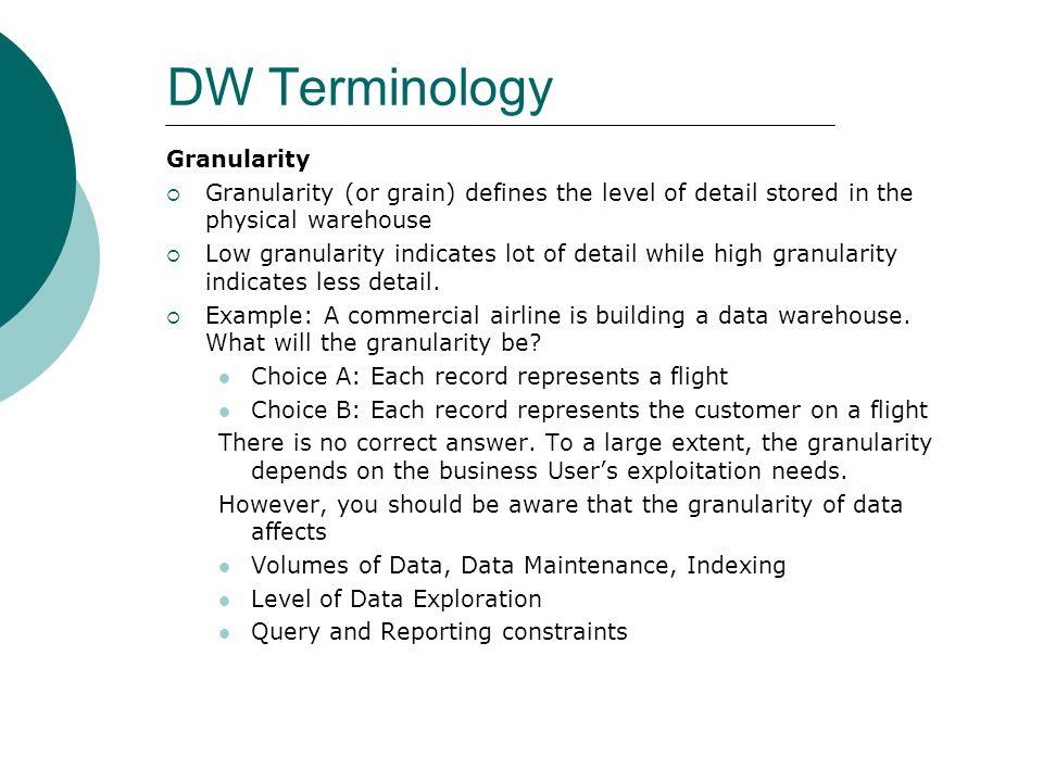 DW Terminology Granularity