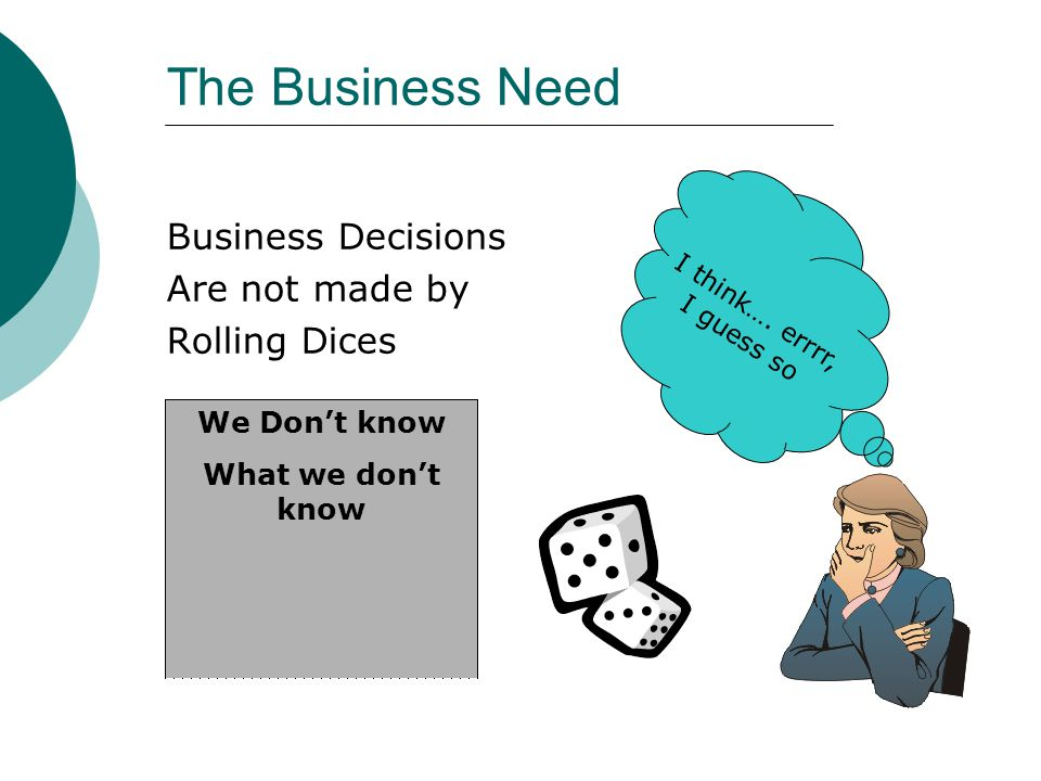 The Business Need Business Decisions Are not made by Rolling Dices