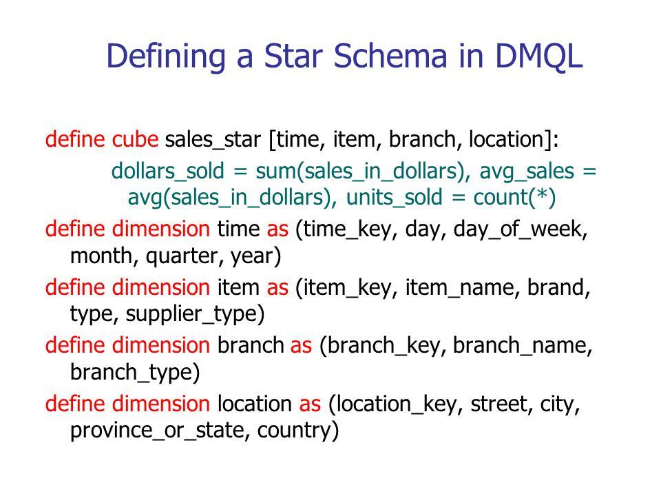 Defining a Star Schema in DMQL