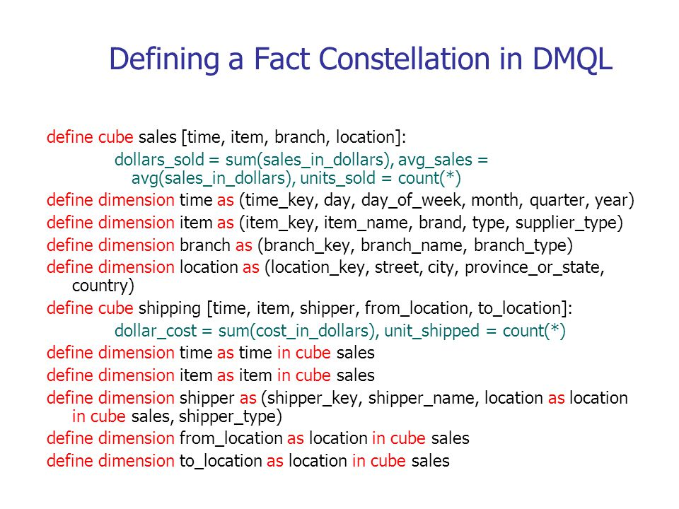 Defining a Fact Constellation in DMQL
