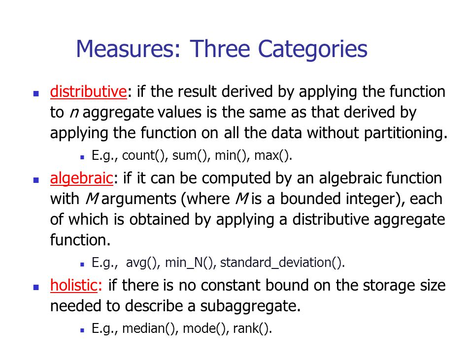Measures: Three Categories