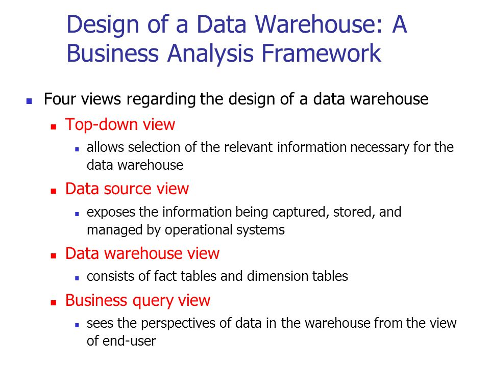 Design of a Data Warehouse: A Business Analysis Framework