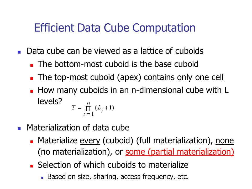 Efficient Data Cube Computation