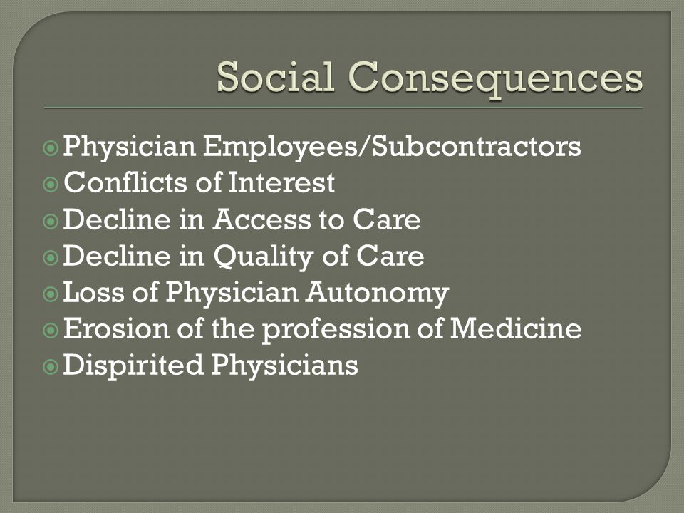 Social Consequences Physician Employees/Subcontractors