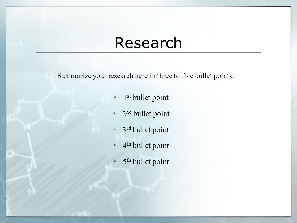 Summarize your research here in three to five bullet points: