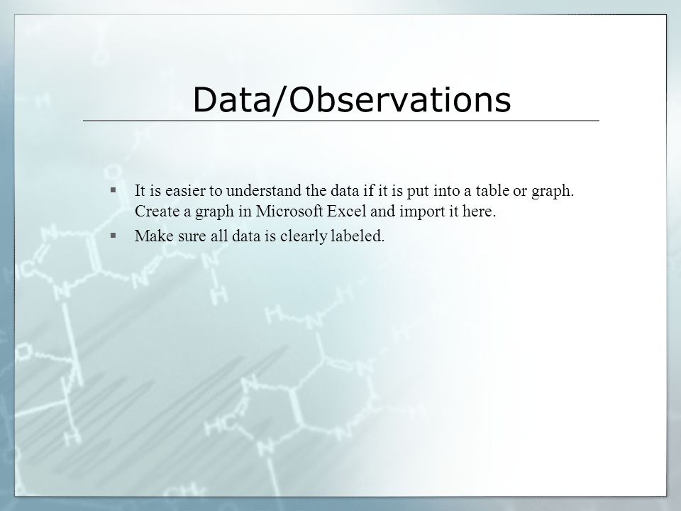 Data/Observations It is easier to understand the data if it is put into a table or graph. Create a graph in Microsoft Excel and import it here.