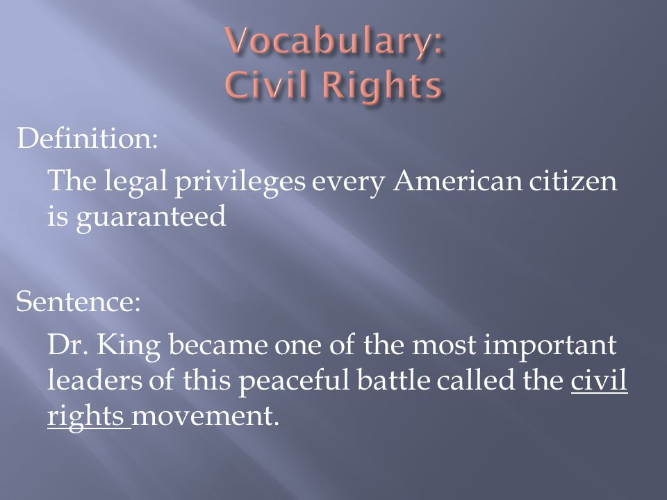 Vocabulary: Civil Rights