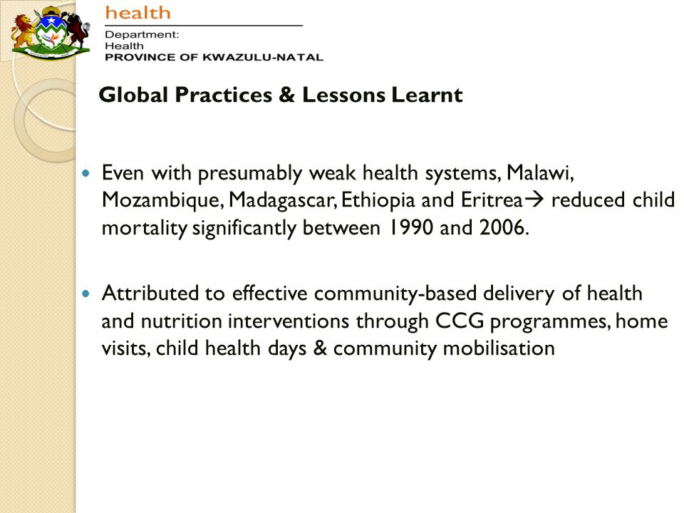 Global Practices & Lessons Learnt