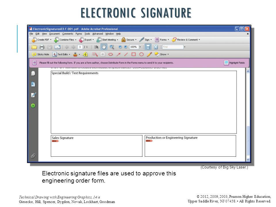 Electronic signature (Courtesy of Big Sky Laser.) Electronic signature files are used to approve this engineering order form.