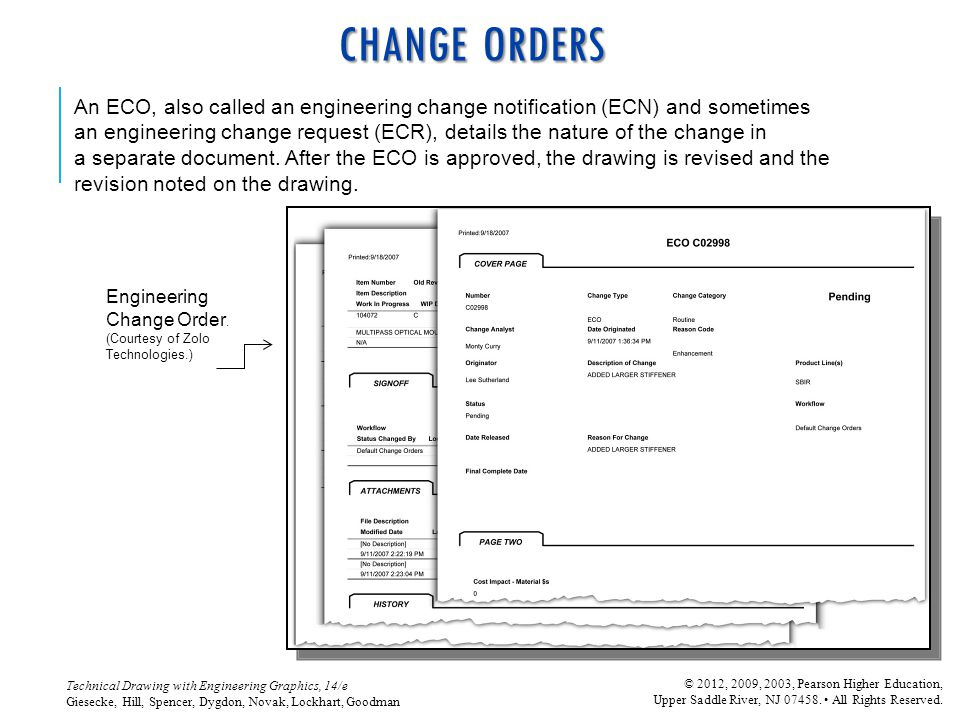 CHANGE ORDERS An ECO, also called an engineering change notification (ECN) and sometimes.