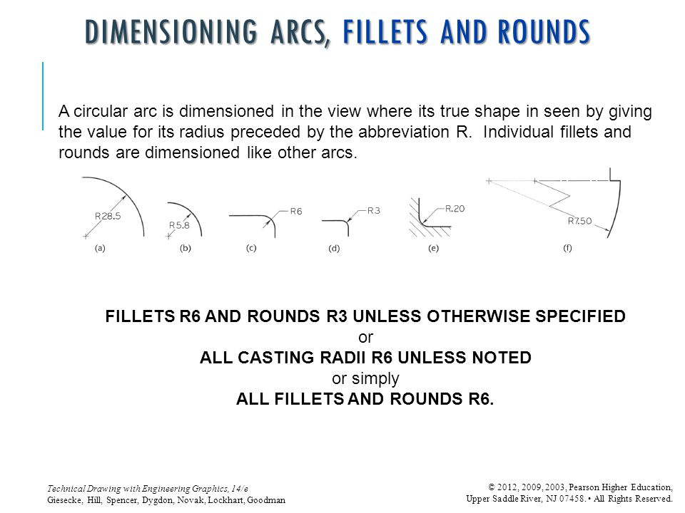 DIMENSIONING ARCS, FILLETS AND ROUNDS