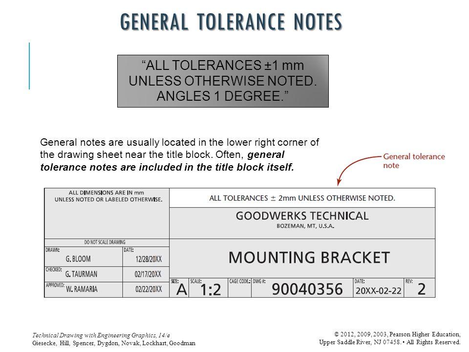 GENERAL TOLERANCE NOTES