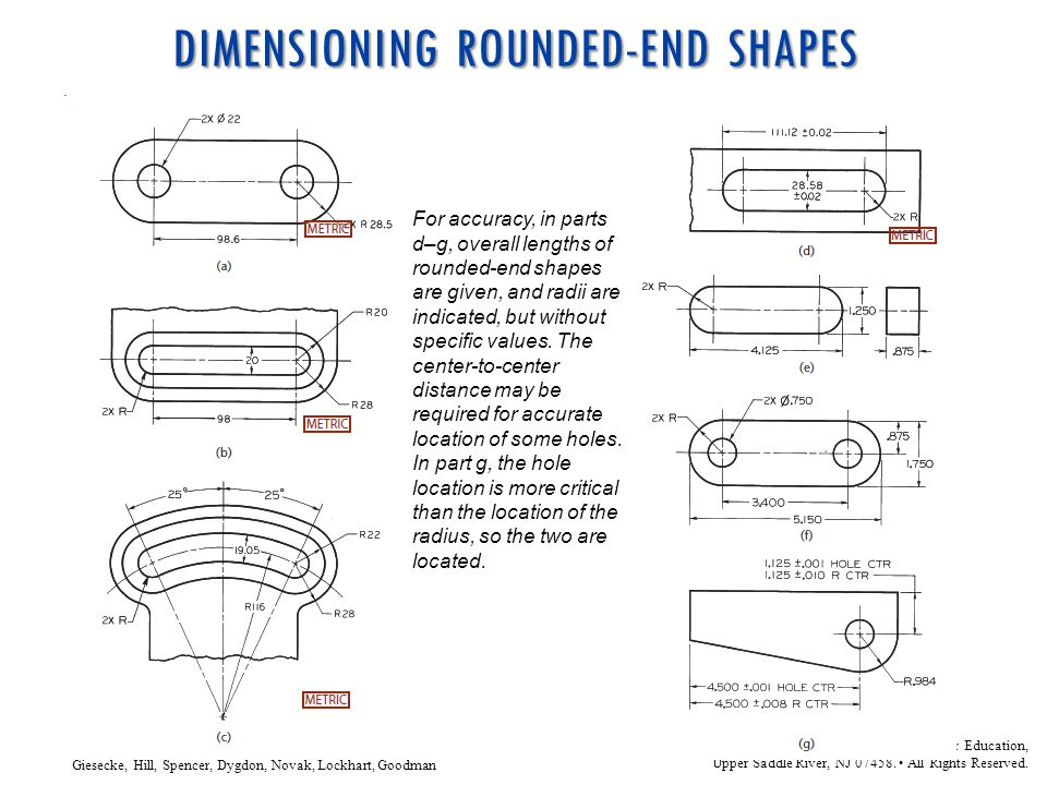 DIMENSIONING ROUNDED-END SHAPES