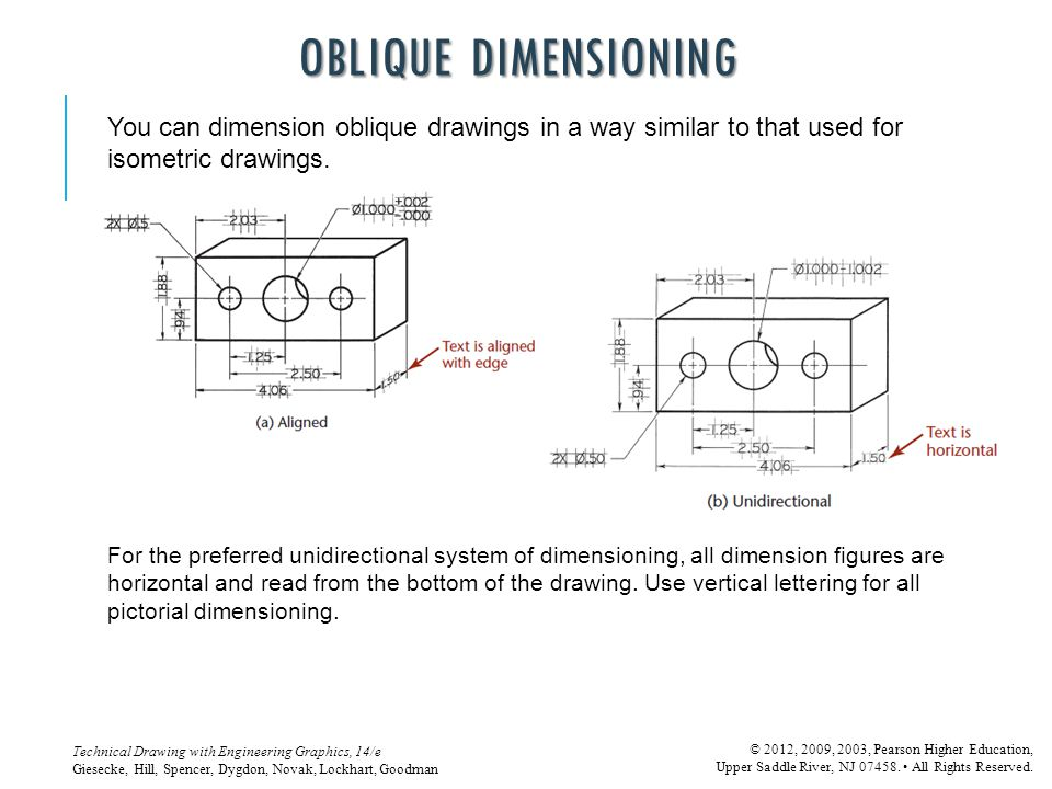 OBLIQUE DIMENSIONING You can dimension oblique drawings in a way similar to that used for isometric drawings.