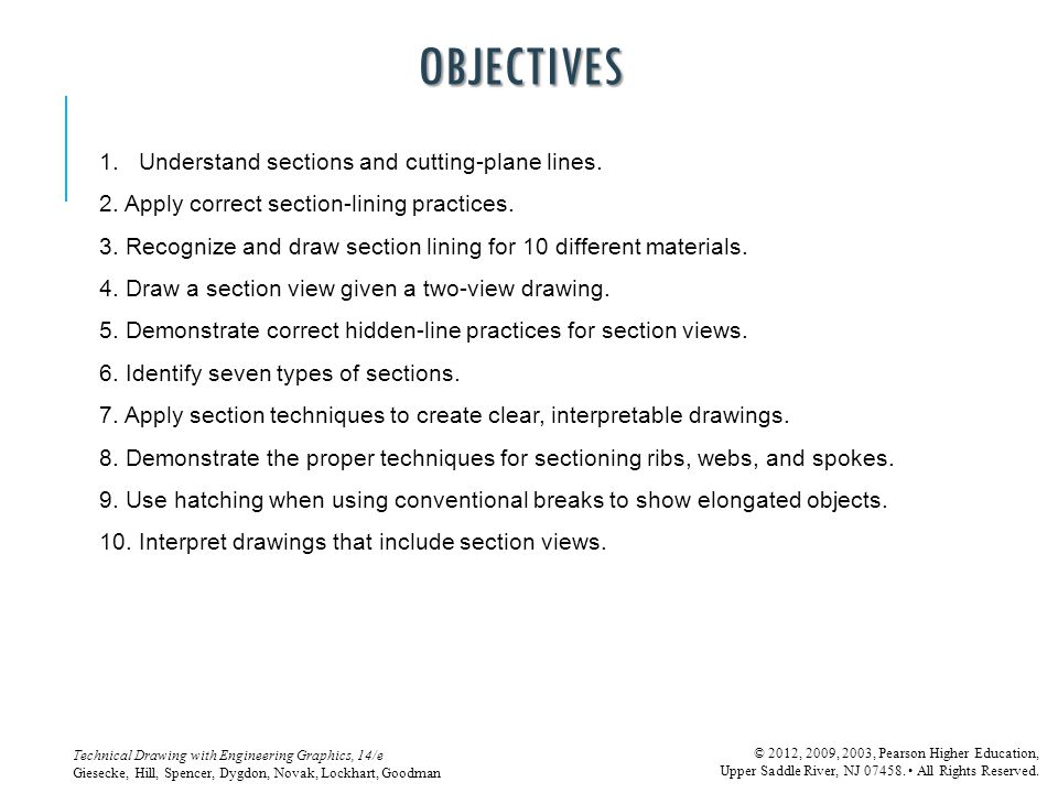 OBJECTIVES Understand sections and cutting-plane lines.