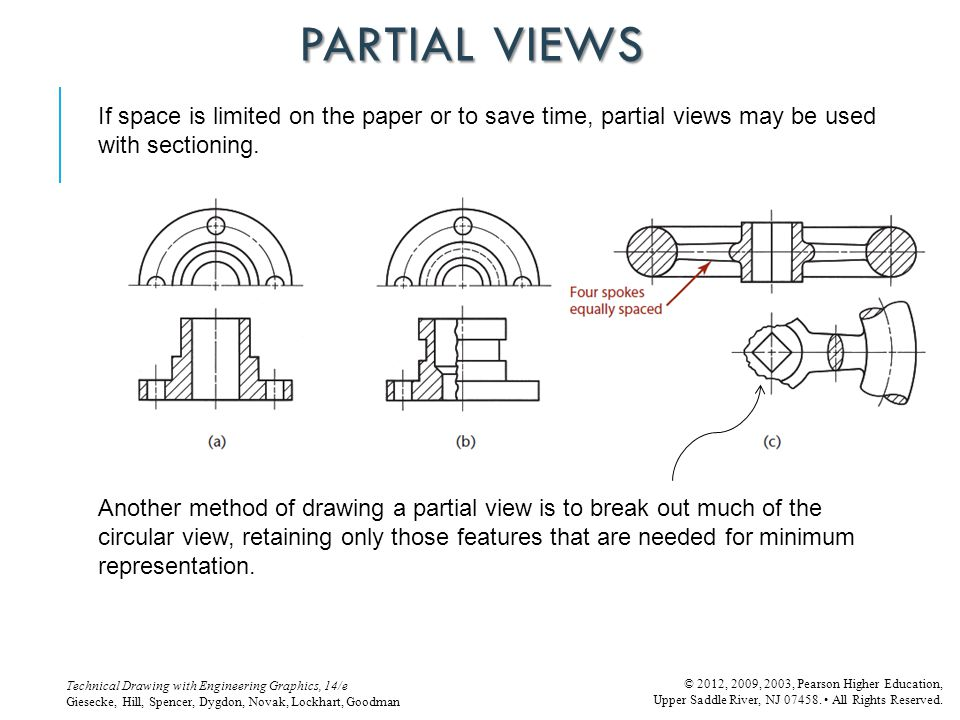 PARTIAL VIEWS If space is limited on the paper or to save time, partial views may be used with sectioning.