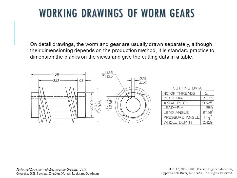 WORKING DRAWINGS OF WORM GEARS