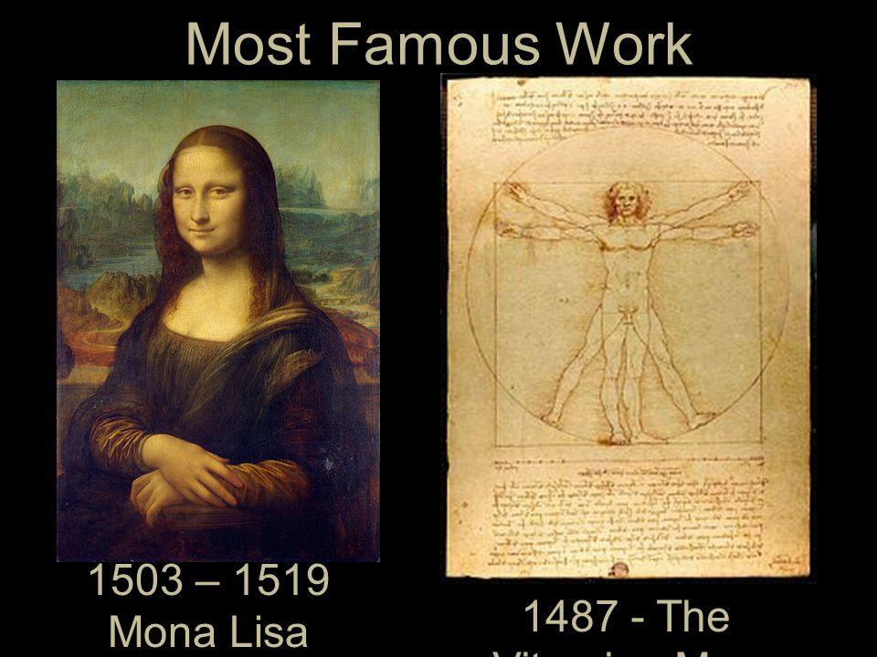 Most Famous Work 1503 – 1519 Mona Lisa – La Gioconda -