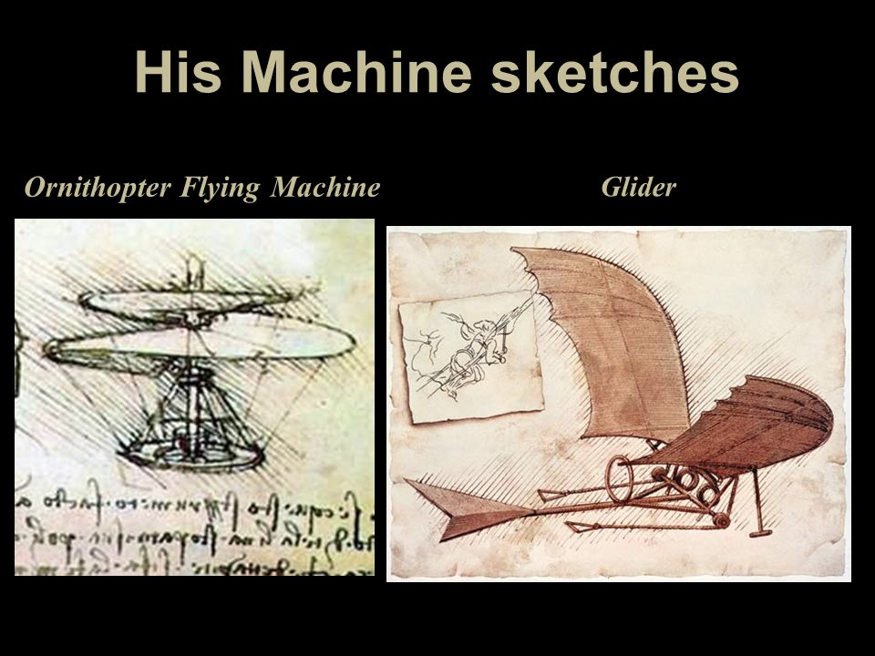 His Machine sketches Ornithopter Flying Machine Glider