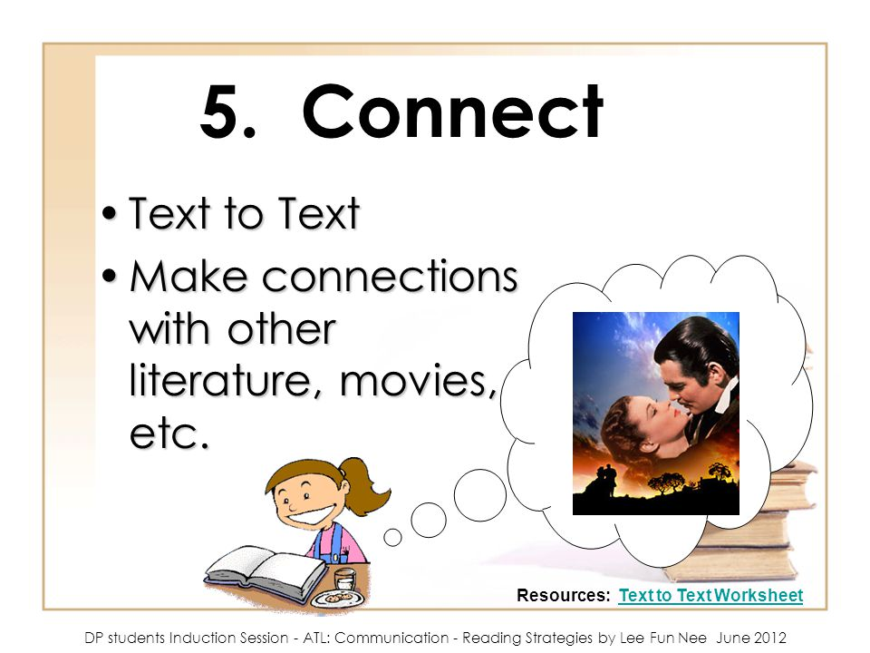 Grouping 5 in a group DP students Induction Session ATL – Text to Text Connections Worksheet