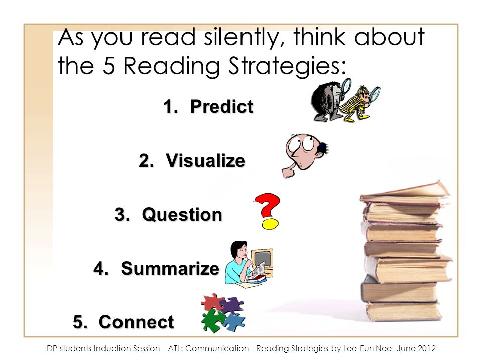 As you read silently, think about the 5 Reading Strategies: