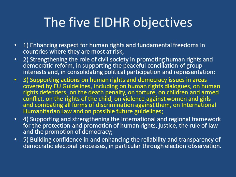 The five EIDHR objectives
