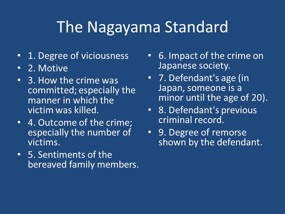 The Nagayama Standard 1. Degree of viciousness 2. Motive