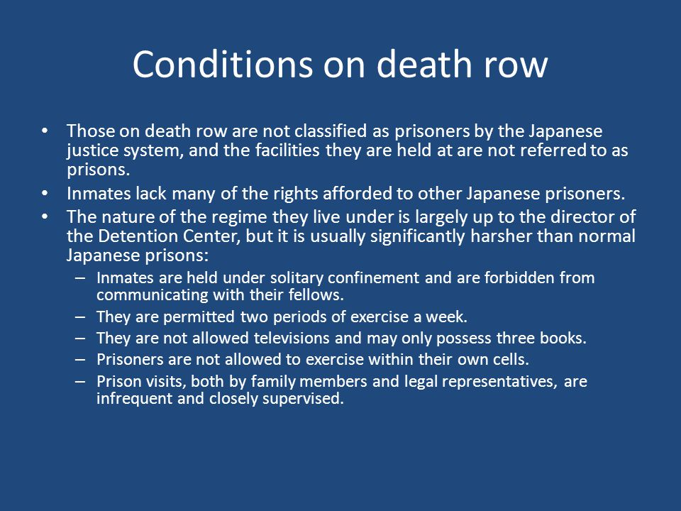 Conditions on death row