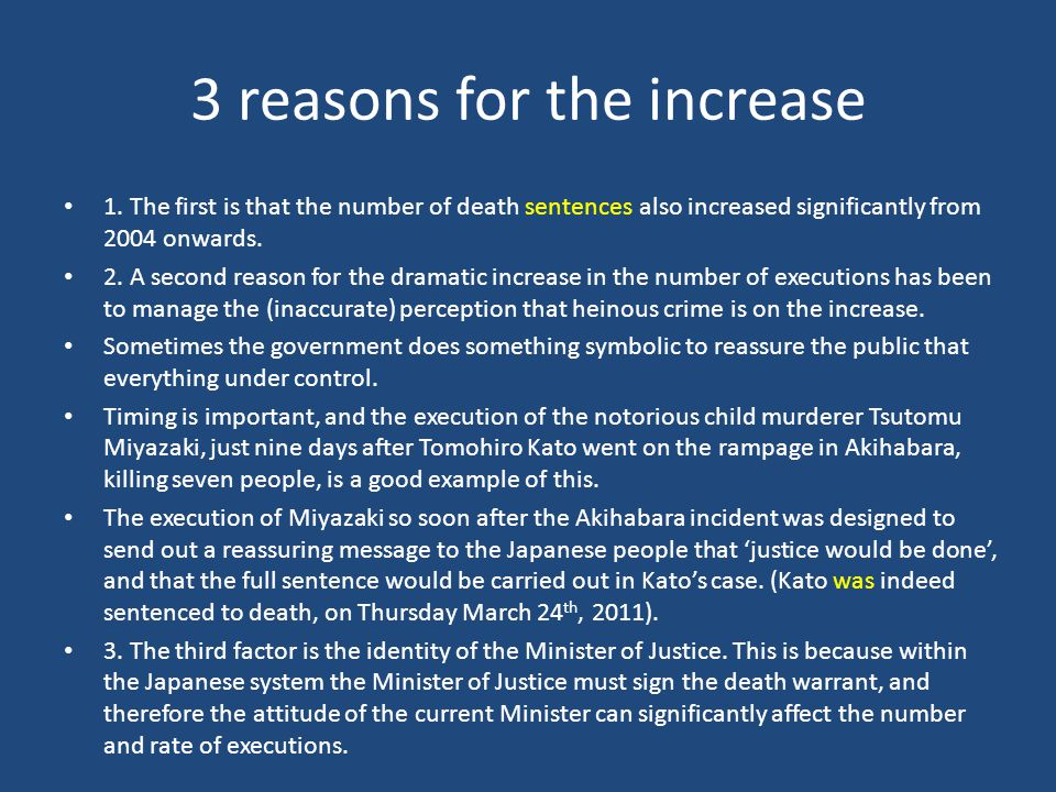 3 reasons for the increase