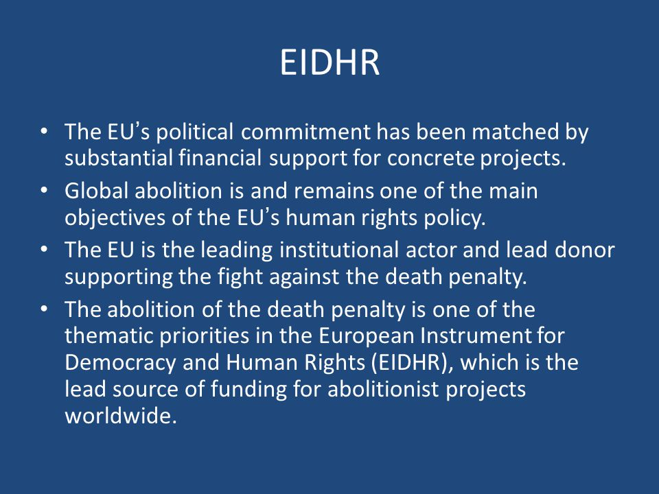 EIDHR The EU's political commitment has been matched by substantial financial support for concrete projects.