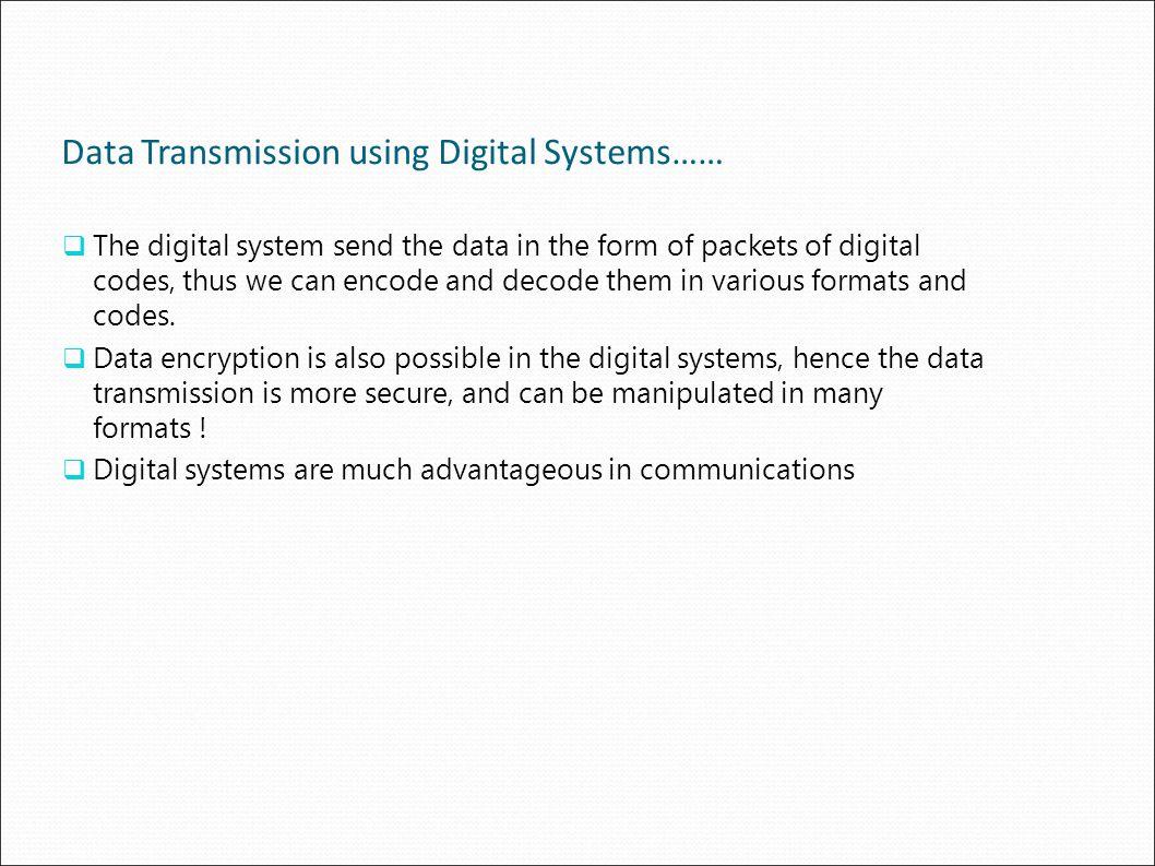 Data Transmission using Digital Systems……