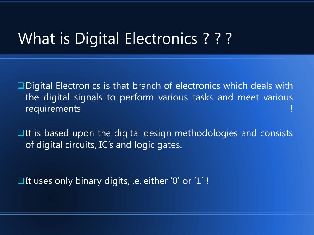 What is Digital Electronics