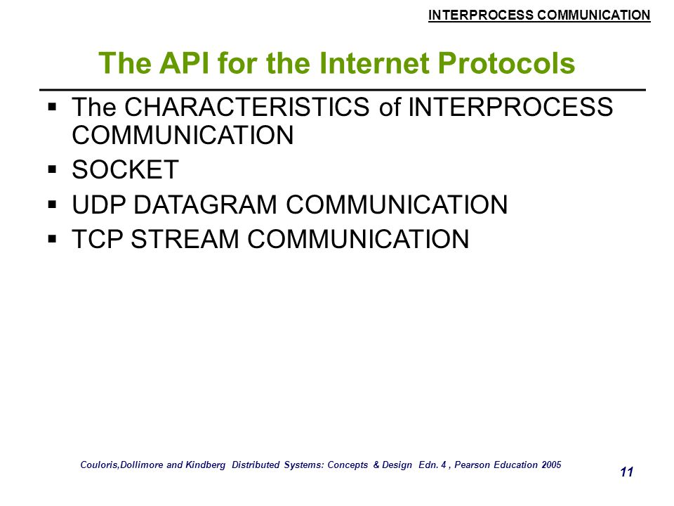 The API for the Internet Protocols