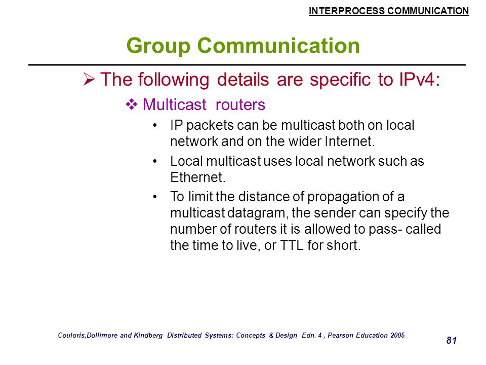 Group Communication The following details are specific to IPv4: