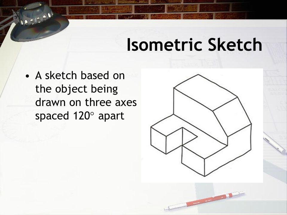 Isometric Sketch A sketch based on the object being drawn on three axes spaced 120 apart