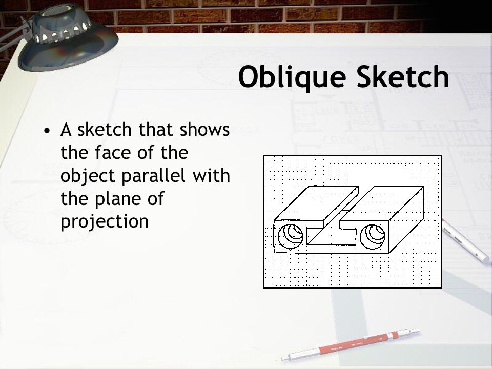 Oblique Sketch A sketch that shows the face of the object parallel with the plane of projection