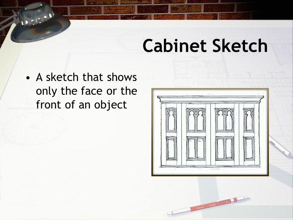 Cabinet Sketch A sketch that shows only the face or the front of an object