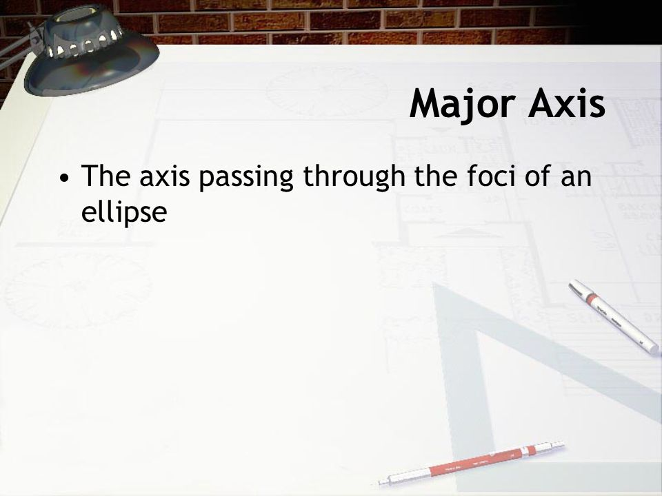 Major Axis The axis passing through the foci of an ellipse