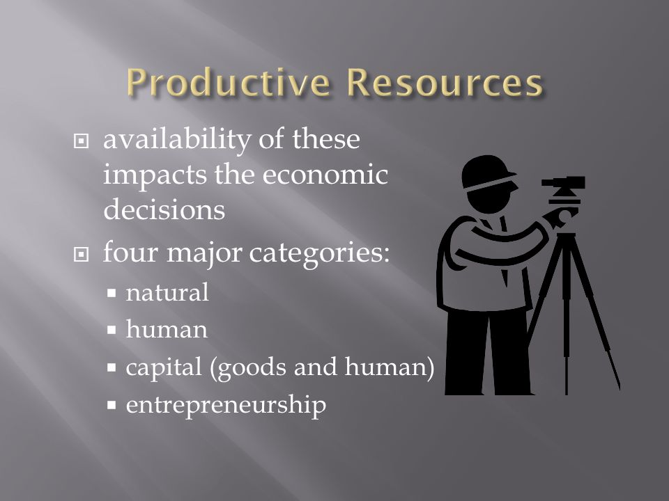 Productive Resources availability of these impacts the economic decisions. four major categories: natural.