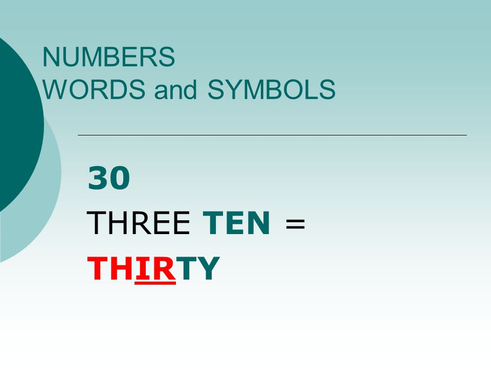 NUMBERS WORDS and SYMBOLS