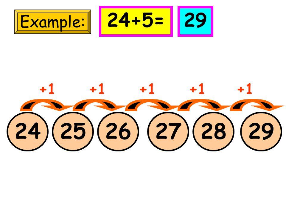24+5= 29 Example: +1 +1 +1 +1 +1 24 25 26 27 28 29