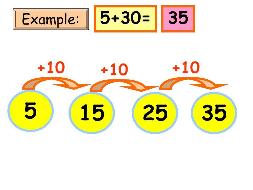 5+30= 35 Example: +10 +10 +10 5 15 25 35