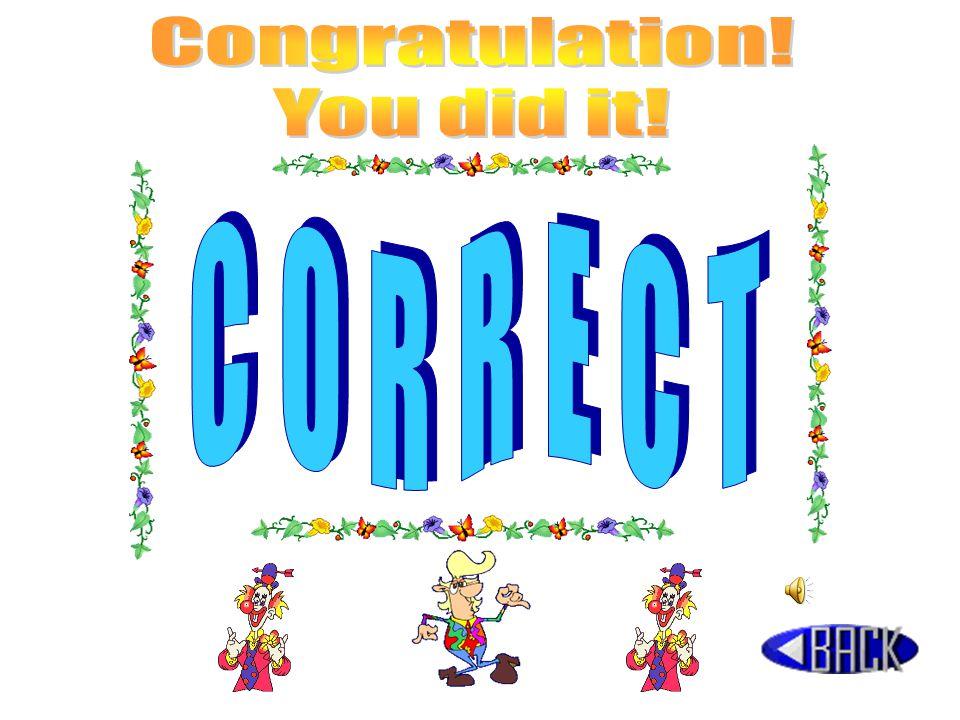 Congratulation! You did it! CORRECT