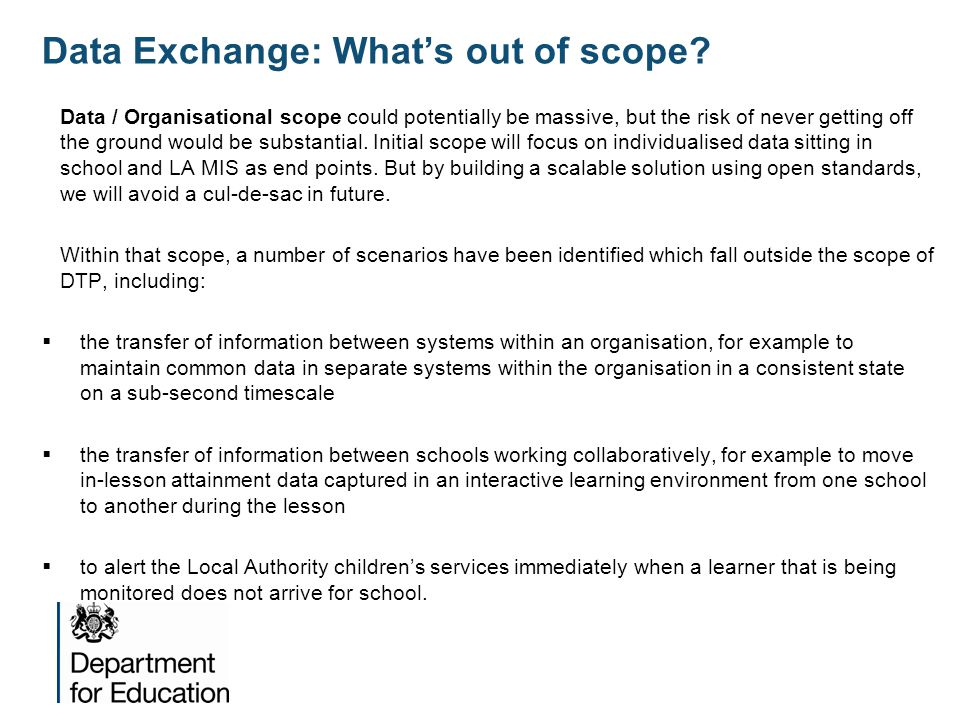 Data Exchange: What's out of scope