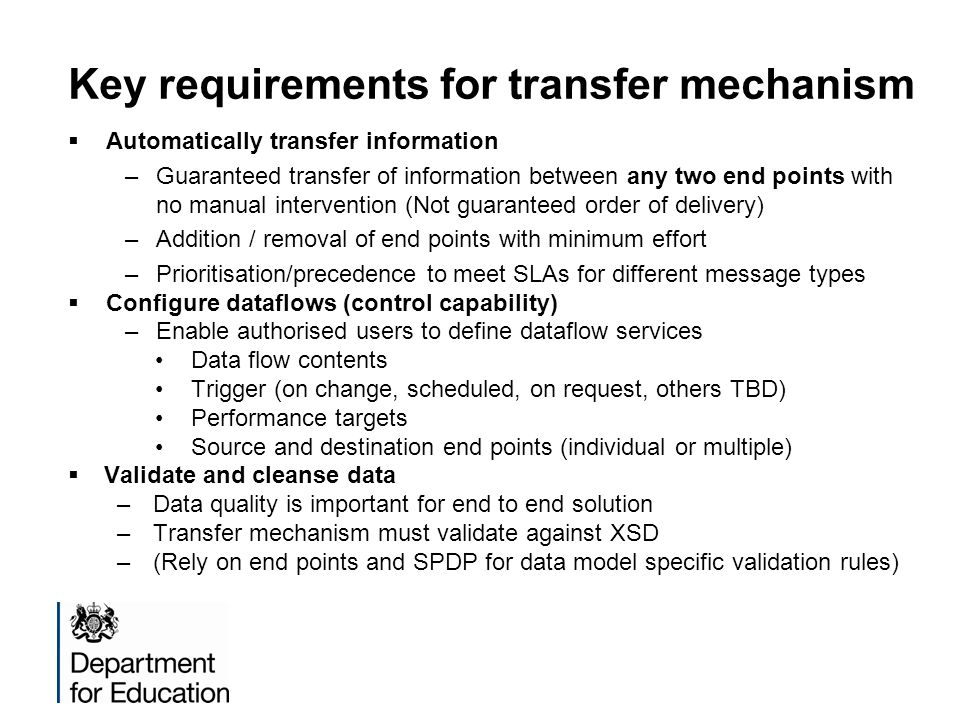 Key requirements for transfer mechanism