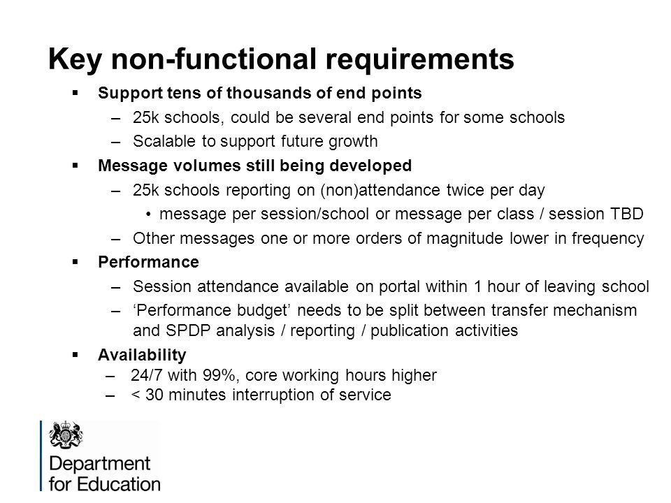 Key non-functional requirements