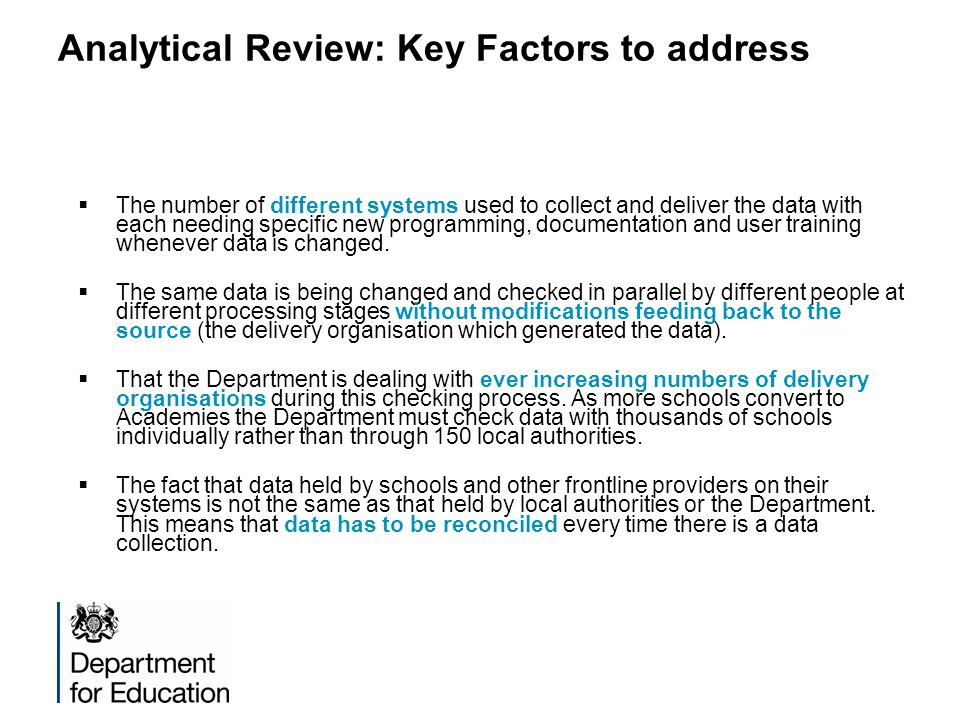 Analytical Review: Key Factors to address