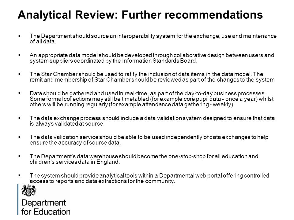 Analytical Review: Further recommendations